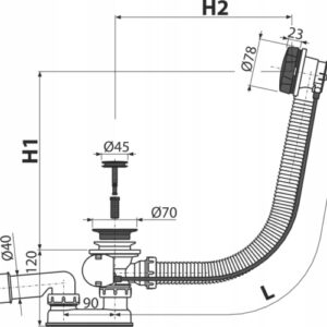 Syfon wannowy automatyczny BLACK Alcaplast A55BLACK