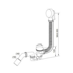 Syfon wannowy automatyczny PREVEX A305M50