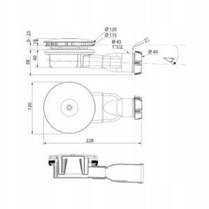Syfon brodzikowy niski SLIM Black Mat WIRQUIN