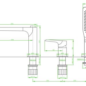 Alea – bateria wannowa stojąca 3-otworowa