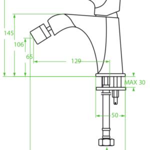 Alea – bateria bidetowa z korkiem automatycznym