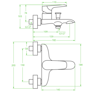 Alea – bateria wannowa ścienna bez zestawu natryskowego