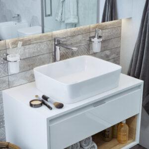 Szafka pod umywalkę nablatową biały/biały